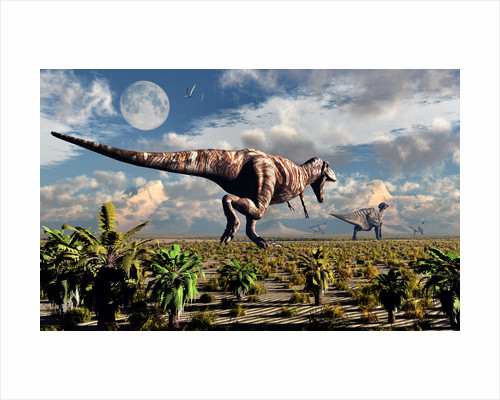 A hungry Tyrannosaurus Rex chasing a small group of Parasaurolophus. by Mark Stevenson