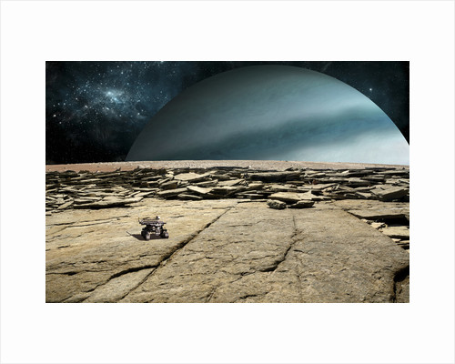 A rover explores the surface of a rocky and barren moon. by Marc Ward