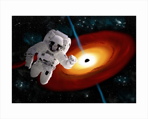 An astronaut floating in outer space as he is pulled towards a massive black hole. by Marc Ward