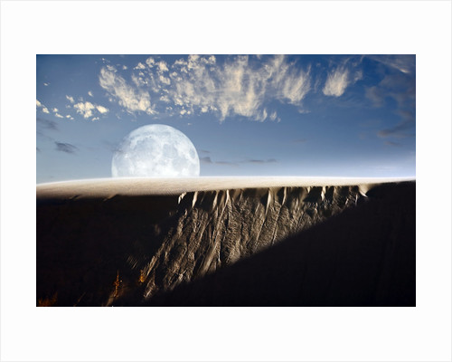 Full moon rising above a sand dune. by Roth Ritter