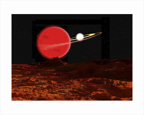 Zeta Piscium is a binary star system consisting of a red giant and a white dwarf. by Ron Miller