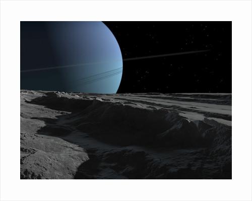 A scene on the tortured, wrinkled terrain of Miranda, one of Uranus' many moons. by Ron Miller