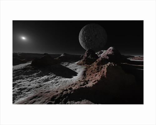 A scene on Pluto with Charon, its giant moon. by Ron Miller