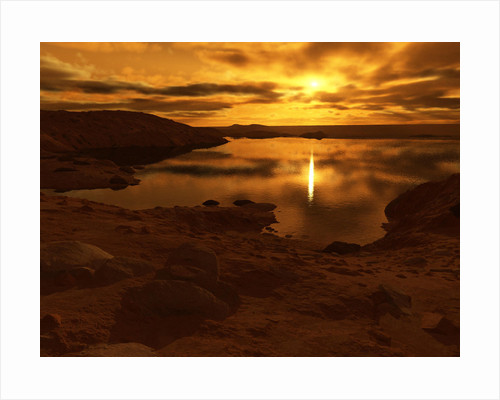 A lake of liquid methane on Saturn's giant moon, Titan. by Ron Miller