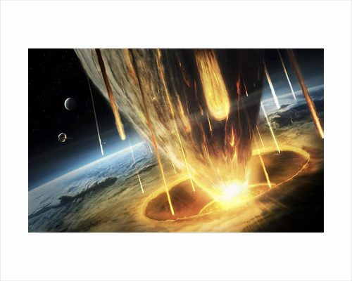 A giant asteroid collides with planet Earth. by Tobias Roetsch