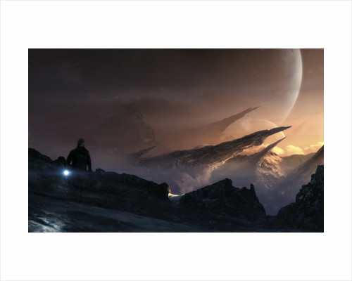 Lonely wanderer lost in the cold and icy mountains of an alien planet. by Tobias Roetsch