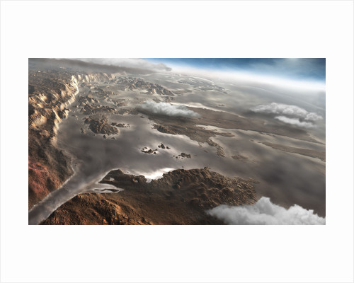 A flooded Aram Chaos region on the planet Mars. by Steven Hobbs