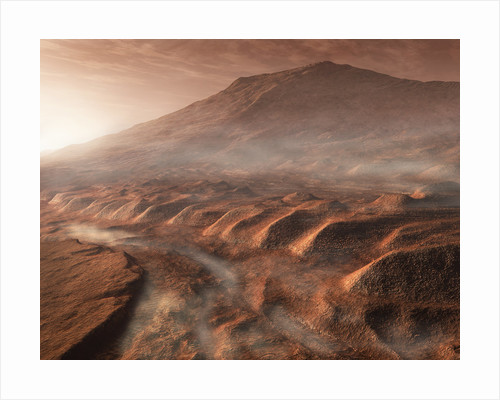 A light fog forms in a desiccated gully in Gale Crater, Mars. by Steven Hobbs