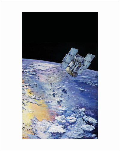 An artist's concept depicting CloudSat in orbit around Earth. by Anonymous