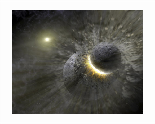 A collision between massive objects in space. by Anonymous