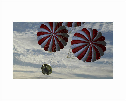 Concept of the second stage recovery parachutes opening as a crew exploration vehicle descends to Earth. by Anonymous