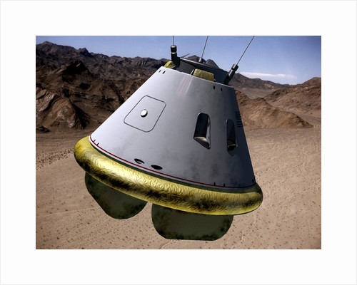Concept of a crew exploration vehicle as it lands on Earth. by Anonymous