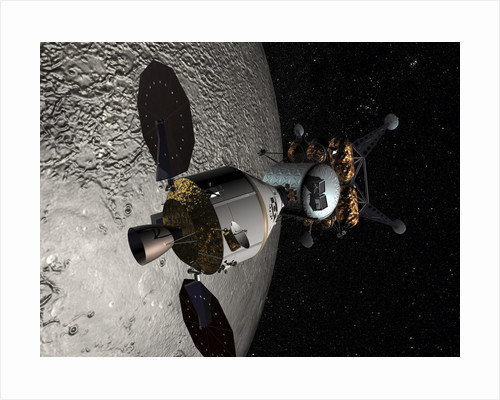 Concept of the Orion crew exploration vehicle docked to a lunar lander in lunar orbit. by Anonymous