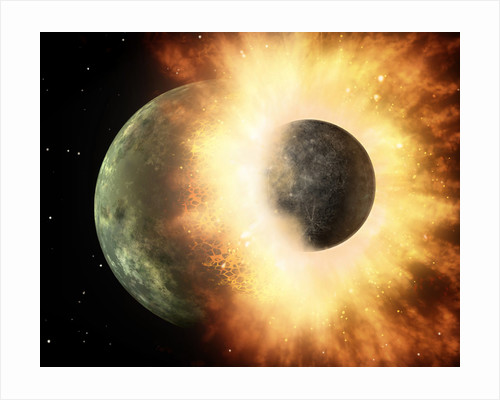 Artist's concept of a celestial body colliding into a planet sized body. by Anonymous