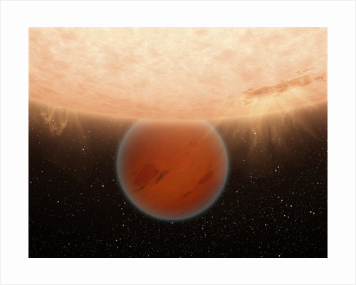 An artisti's concept of an unusual, methane-free world partially eclipsed by its star. by Anonymous