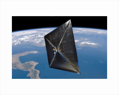 Artist concept of NanoSail-D in space. by Anonymous