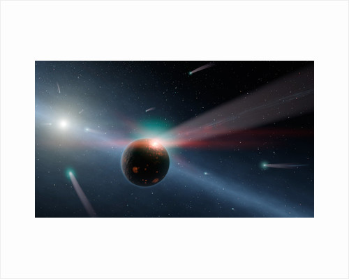 Artist's conception of a storm of comets in the Eta Corvi system. by Anonymous