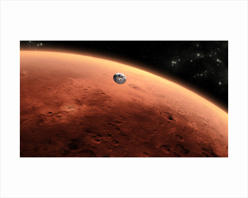 Artist's concept of NASA's Mars Science Laboratory spacecraft approaching Mars. by Anonymous