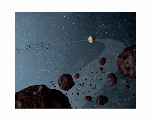 Artist's concept of Jovian Trojans asteroids. by Anonymous
