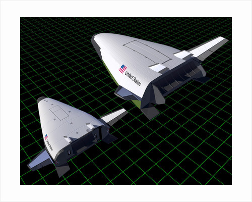 Artist's concept showing the relative sizes of the X-33 and VentureStar. by Anonymous
