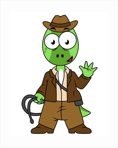 Illustration of Parasaurolophus dressed as Indiana Jones. by Stocktrek Images