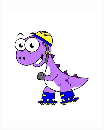 Illustration of a skating Tyrannosaurus Rex. by Stocktrek Images