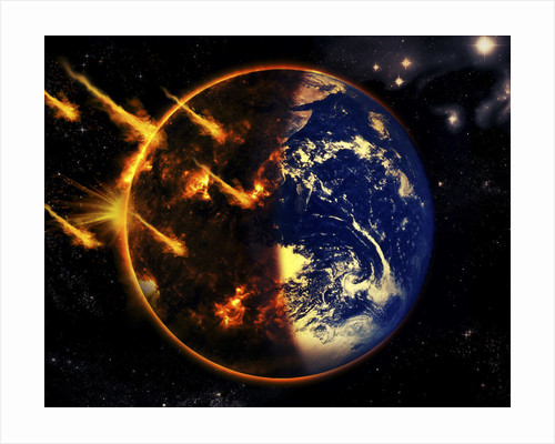 A swarm of deadly meteorites impact Earth on Armageddon day. by Tomasz Dabrowski