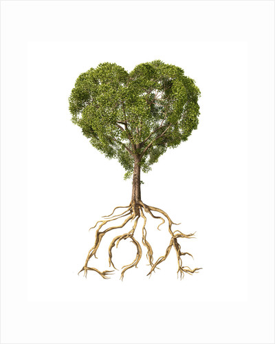 Tree with foliage in the shape of a heart with roots as text Love. by Leonello Calvetti