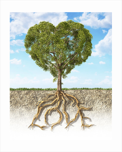 Cross section of soil showing a heart-shaped tree with its roots as text Love by Leonello Calvetti