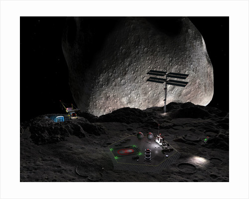 Artist's concept of a mining settlement on the double asteroid 90 Antiope. by Walter Myers