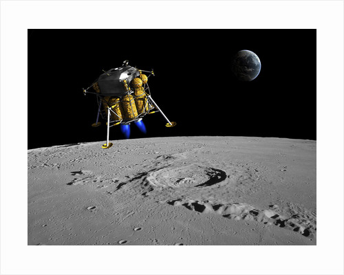 A lunar lander begins its descent to the moon's surface. by Walter Myers