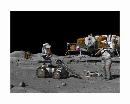 Artist's concept of a future lunar exploration mission. by Walter Myers