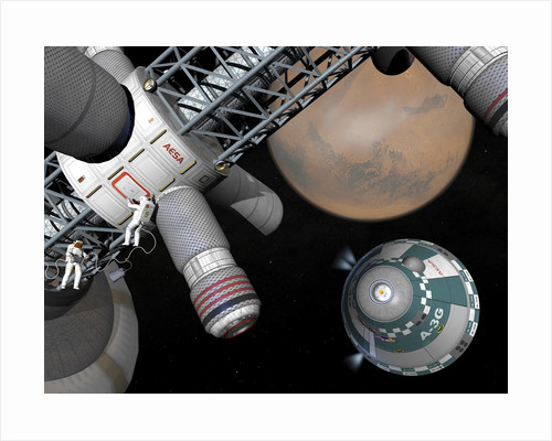 Artist's concept of a future space exploration mission. by Walter Myers
