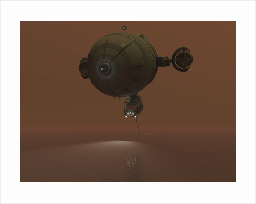 Illustration of a blimp towing a sensor through liquid ethane on Titan. by Walter Myers