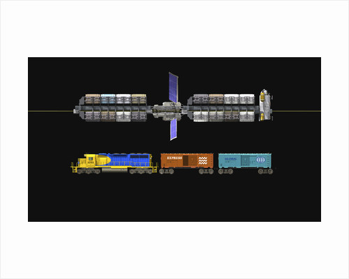 Lunar space elevator compared to a locomotive. by Walter Myers