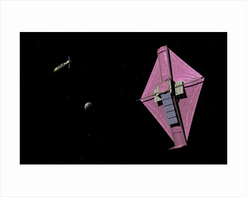 A manned orbital maintenance platform approaches the James Webb Space Telescope. by Walter Myers