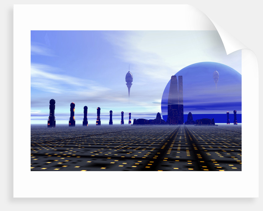 Futuristic city on a planet at the edge of the Milky Way. by Corey Ford