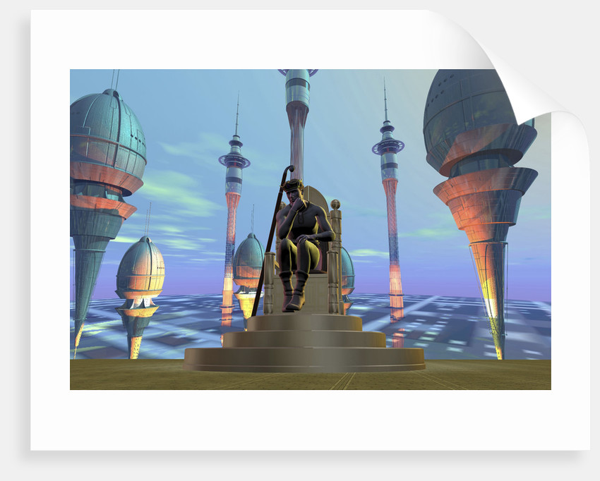 A king sits on his throne on a futuristic world. by Corey Ford