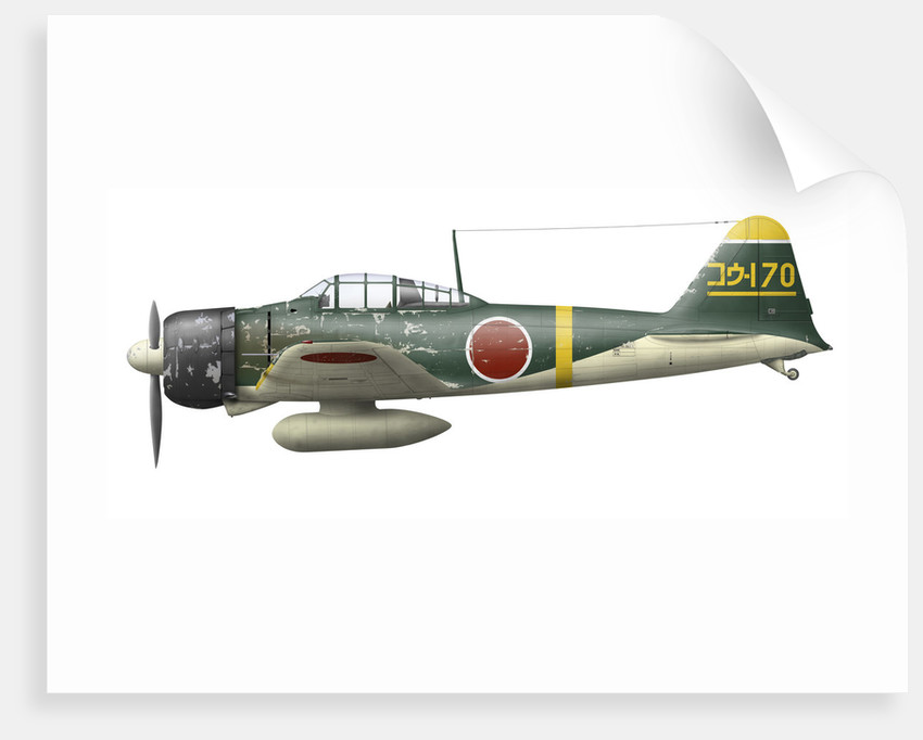 Illustration of a Mitsubishi A6M2 Zero fighter plane. by Anonymous