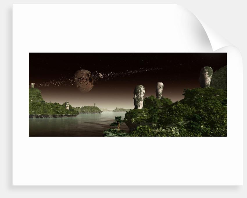 Easter Island like heads on an alien world. In the sky a broken moon. by Frieso Hoevelkamp