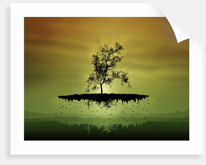 Digitally generated image of a flying tree. by Vladislav Gerasimov