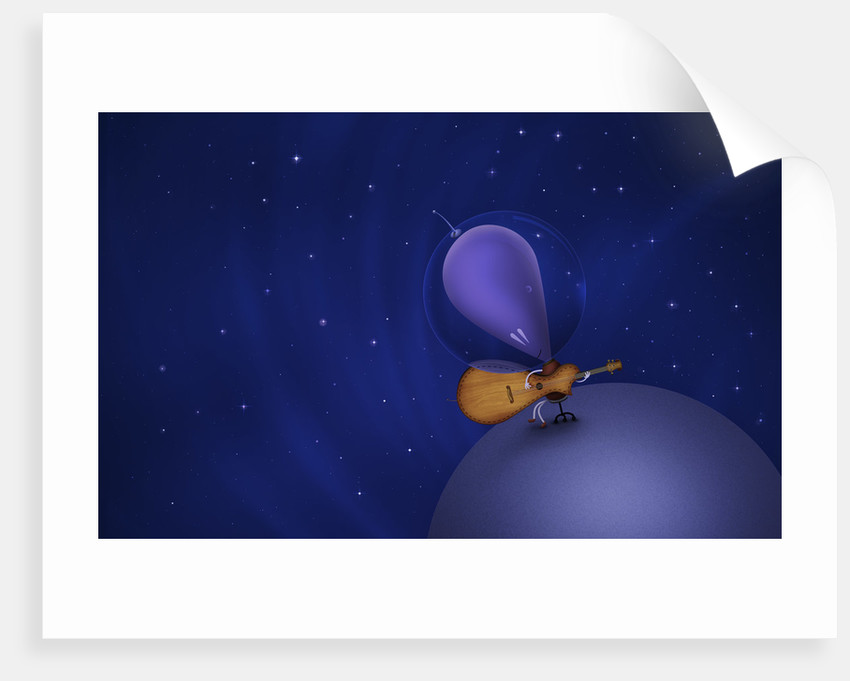 Illustration of a Martian playing the guitar atop a planet in outer space. by Vladislav Gerasimov