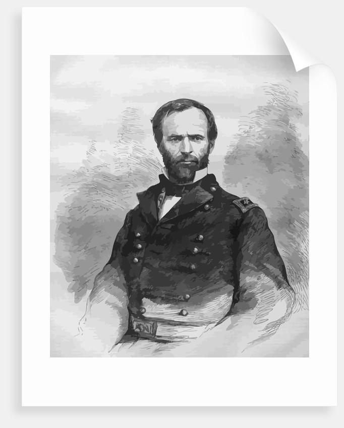 Digitally restored vector portrait of Civil War General William Tecumseh Sherman. by John Parrot