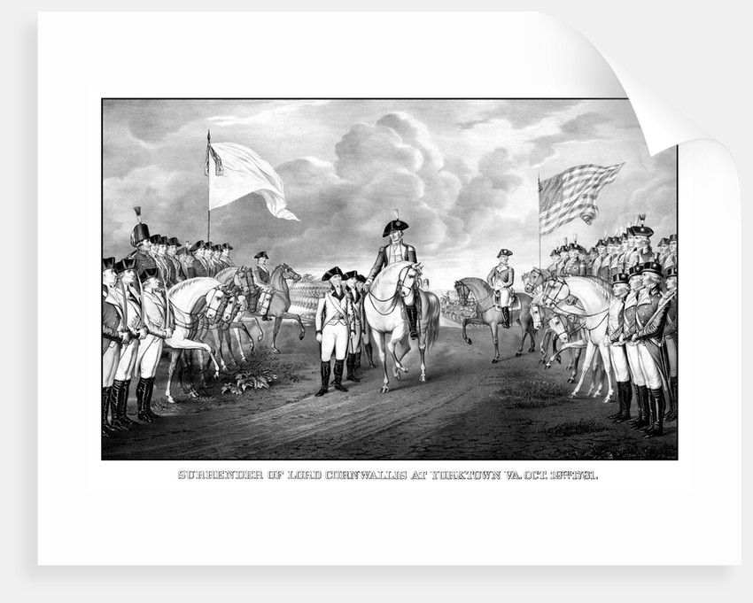 Digitally restored Revolutionary War print showing the surrender of British troops. by John Parrot
