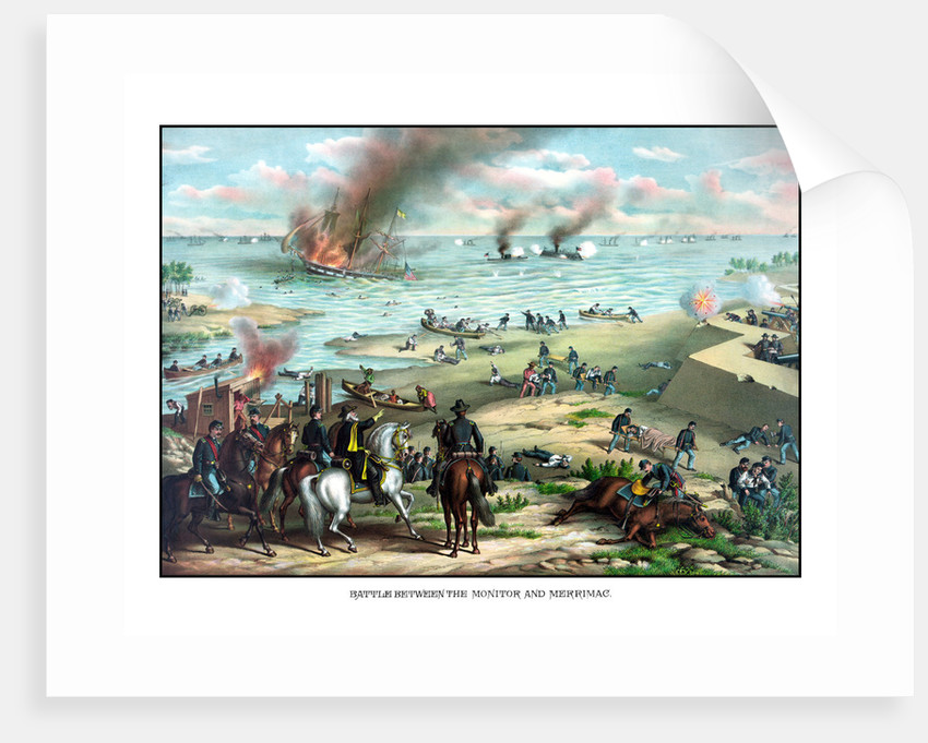 Civil War print showing the Naval Battle of the Monitor and The Merrimack. by John Parrot