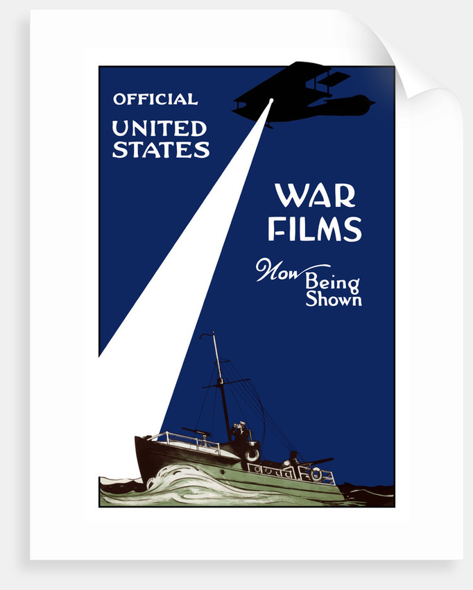 World War I poster of a Navy patrol boat in the sea and a plane shining a spotlight. by John Parrot