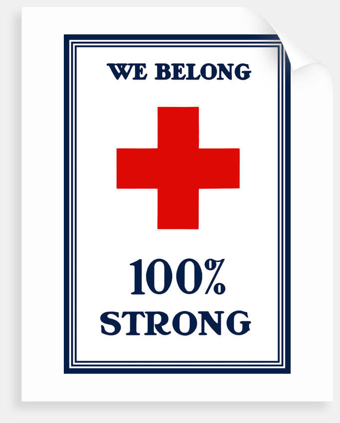 Vintage World War I poster of a large red cross. by John Parrot