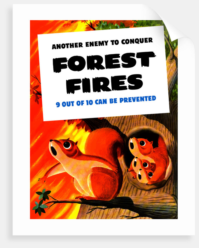Vintage WW2 poster showing a family of squirrels surrounded by a forest  fire