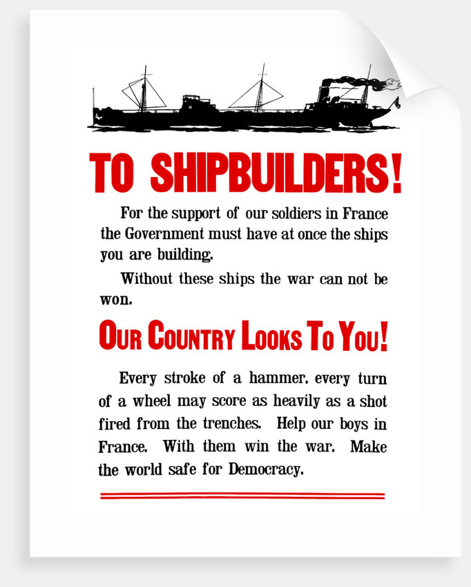 World War II propaganda poster featuring a ship steaming along