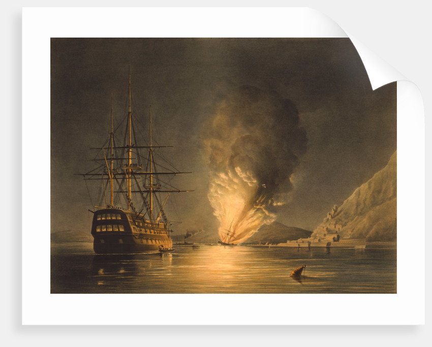 Vintage print featuring the explosion of the U.S. Steam Frigate Missouri, at Gibraltar. by John Parrot